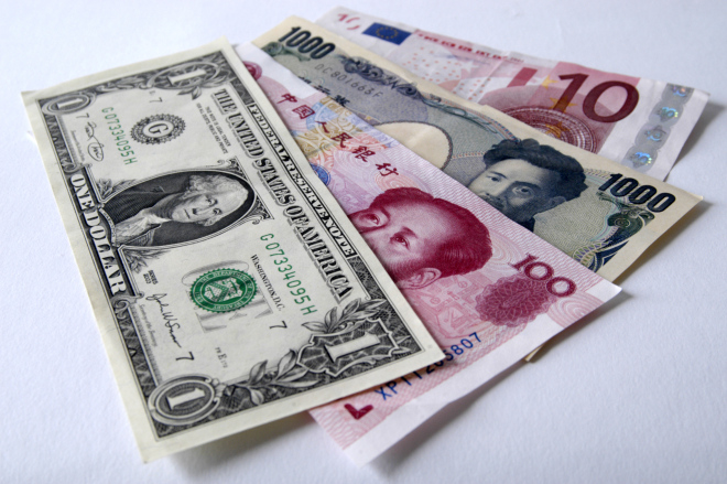 Money mix of foreign currency notes