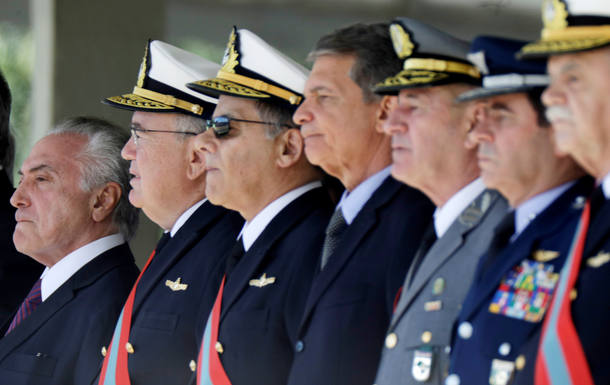 Brazilian President Temer attends the ceremony of 152th anniversary of the Riachuelo Naval Battle at the Marine Corps Headquarters in Brasilia