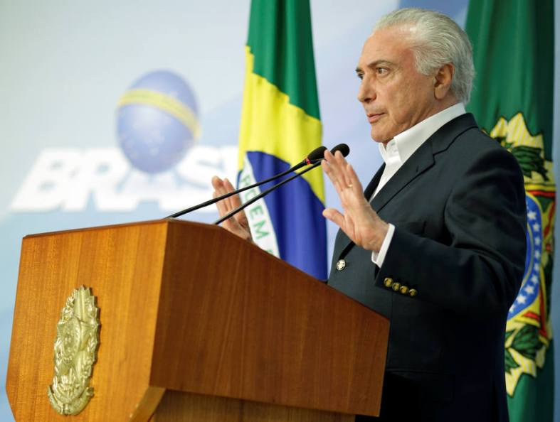 Brazil's President Michel Temer makes an announcement in Brasilia